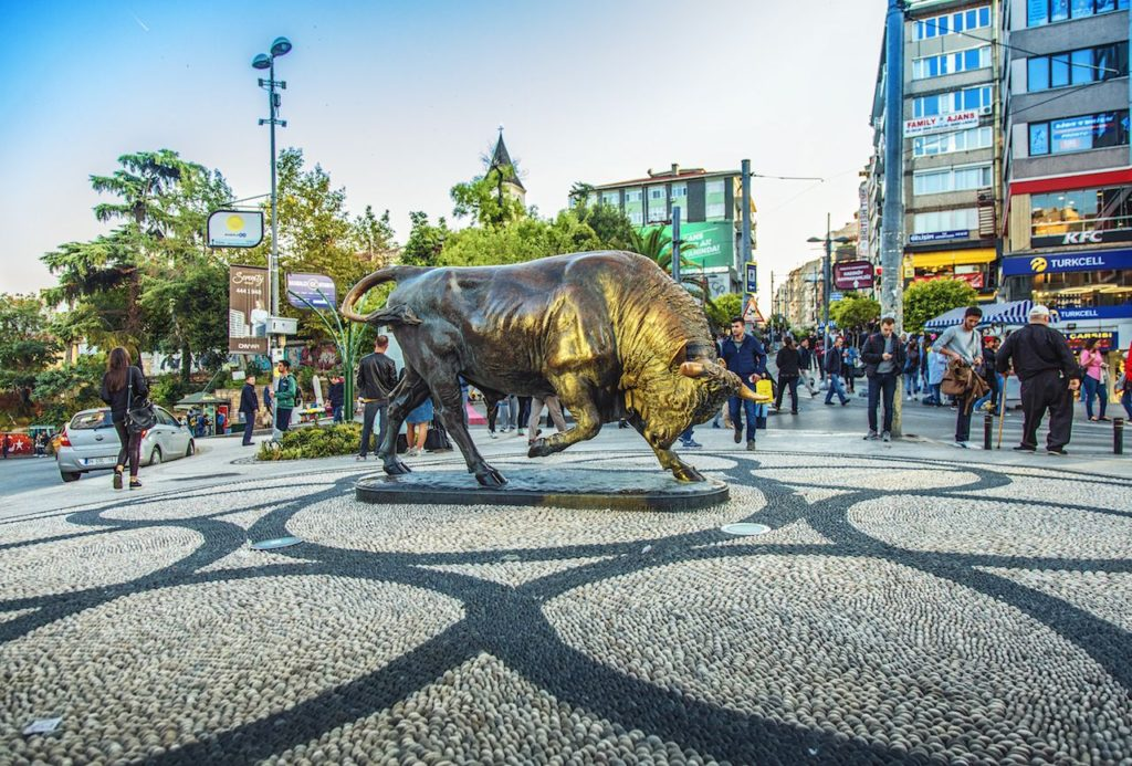 Kadikoy square photography for the Buffalo statue in the middle