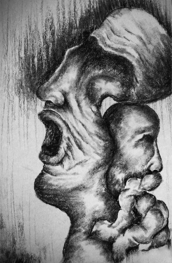 charcoal drawing reflecting the reality when someone sucks the life of someone else such as lice.