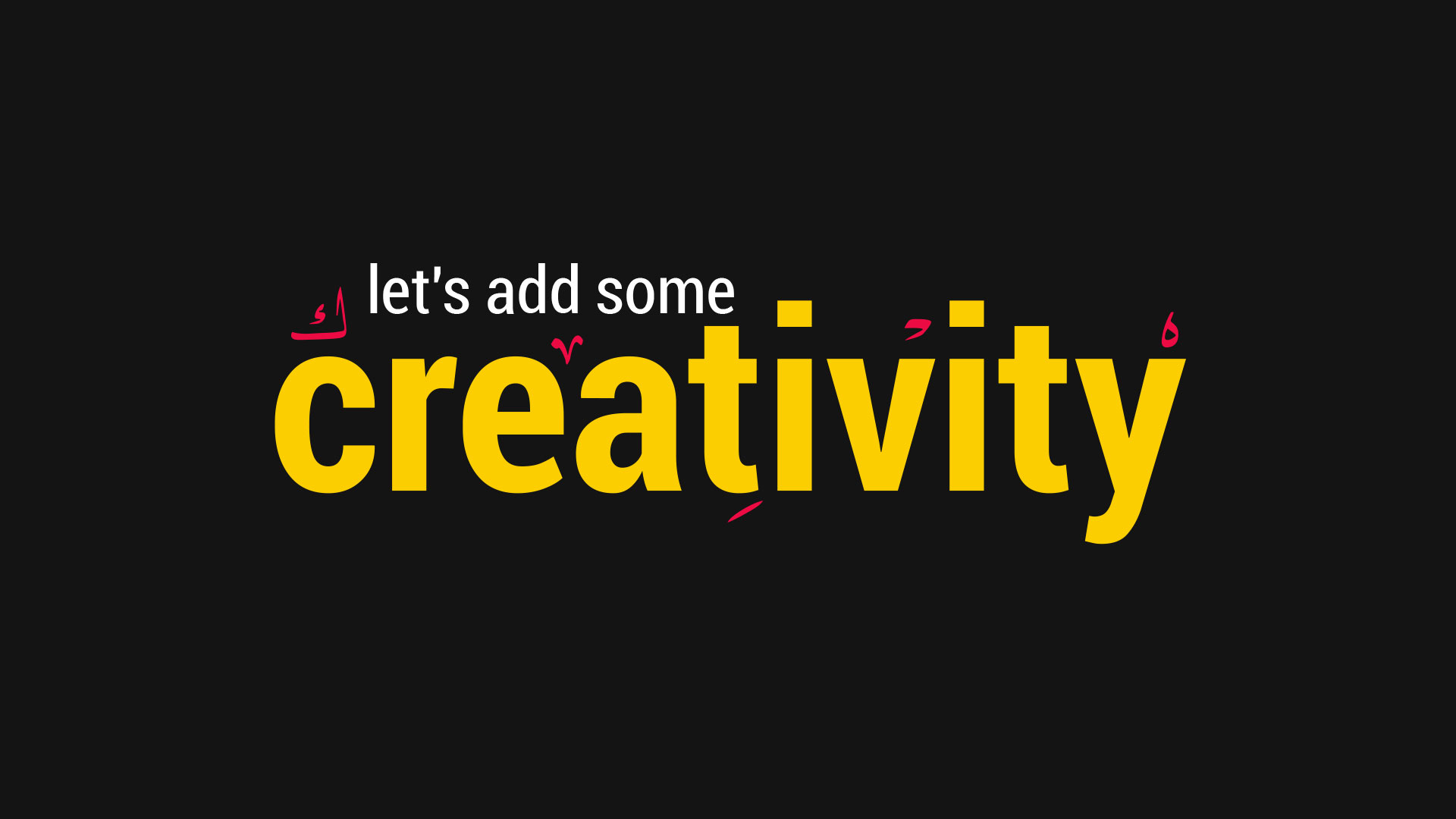 Let's add some creativety is an intro for tashkil studio website